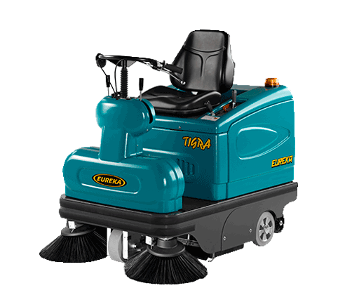 COMBINES THE MANEUVERABILITY AND USER-FRIENDLINESS OF A WALK-BEHI ND MACHINE WITH TH E EFFICIENCY OF A RID E-O N SWEEPER. TIGRA RIDE-ON VACUUM SWEEPER
