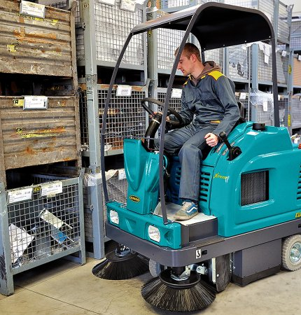 COMPLETELY HYDRAULIC RIDE-ON SWEEPER DESIGNED AND MANUFACTURED BY EUREKA